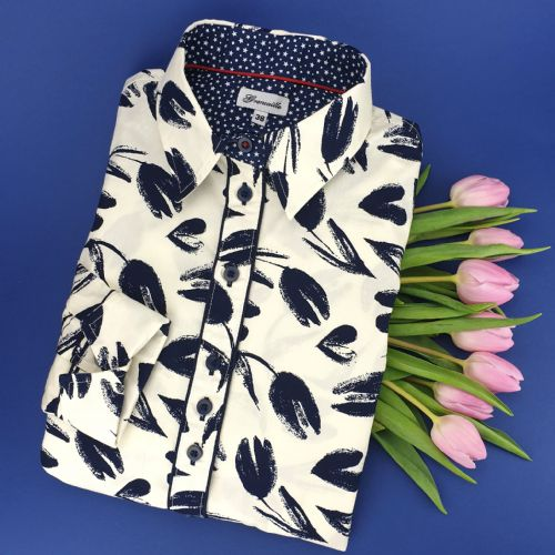 Grenouille Ladies Long Sleeve Navy Tulip and Heart Print Shirt